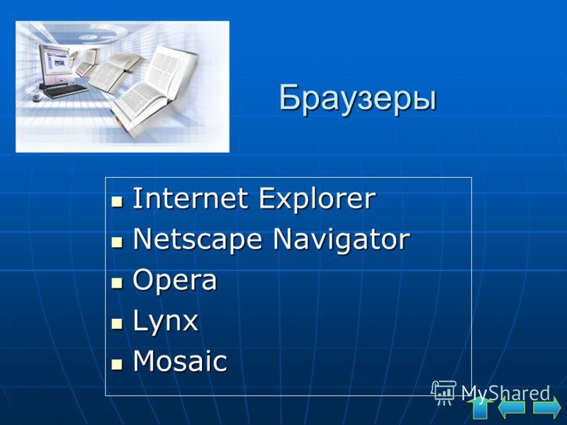 Браузеры Internet Explorer Internet Explorer Netscape Navigator Netscape Navigator Opera Opera Lynx Lynx Mosaic Mosaic