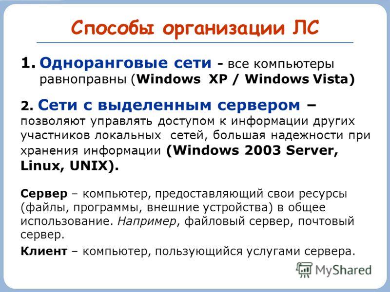 Способы организации ЛС 1.Одноранговые сети - все компьютеры равноправны (Windows XP / Windows Vista) 2. Сети с выделенным сервером – позволяют управлять доступом к информации других участников локальных сетей, большая надежности при хранения информац