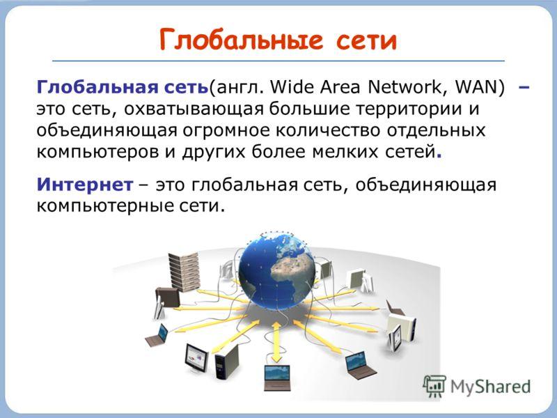 Глобальные сети Глобальная сеть(англ. Wide Area Network, WAN) – это сеть, охватывающая большие территории и объединяющая огромное количество отдельных компьютеров и других более мелких сетей. Интернет – это глобальная сеть, объединяющая компьютерные