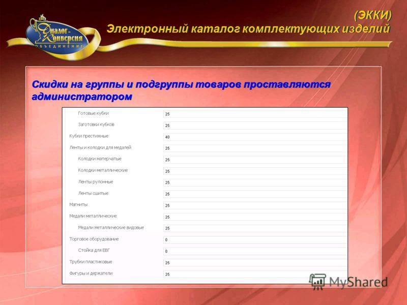 Скидки на группы и подгруппы товаров проставляются администратором (ЭККИ) Электронный каталог комплектующих изделий (ЭККИ) Электронный каталог комплектующих изделий