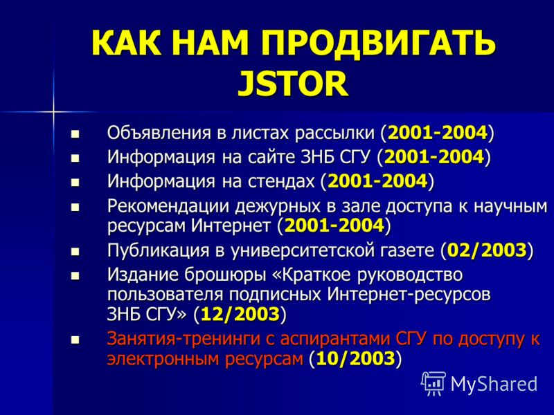 КАК НАМ ПРОДВИГАТЬ JSTOR Объявления в листах рассылки (2001-2004) Объявления в листах рассылки (2001-2004) Информация на сайте ЗНБ СГУ (2001-2004) Информация на сайте ЗНБ СГУ (2001-2004) Информация на стендах (2001-2004) Информация на стендах (2001-2