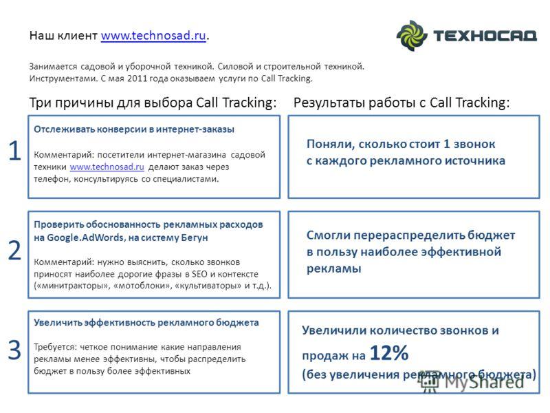Три причины для выбора Call Tracking: Проверить обоснованность рекламных расходов на Google.AdWords, на систему Бегун Комментарий: нужно выяснить, сколько звонков приносят наиболее дорогие фразы в SEO и контексте («минитракторы», «мотоблоки», «культи