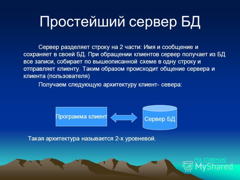 Простейший сервер БД Сервер разделяет строку на 2 части: Имя и сообщение и сохраняет в своей БД. При обращении клиентов сервер получает из БД все записи, собирает по вышеописанной схеме в одну строку и отправляет клиенту. Таким образом происходит общ