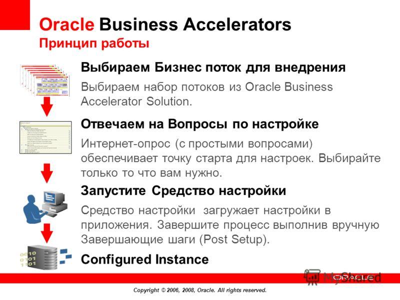 Copyright © 2006, 2008, Oracle. All rights reserved. Configured Instance Выбираем Бизнес поток для внедрения Выбираем набор потоков из Oracle Business Accelerator Solution. Отвечаем на Вопросы по настройке Интернет-опрос (с простыми вопросами ) обесп