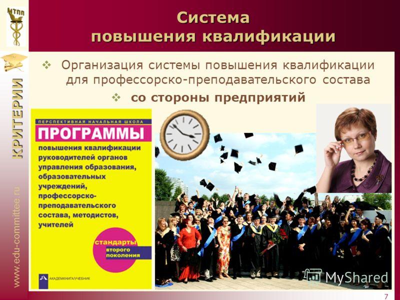 www.edu-committee.ru КРИТЕРИИ 7 Система повышения квалификации Организация системы повышения квалификации для профессорско-преподавательского состава со стороны предприятий