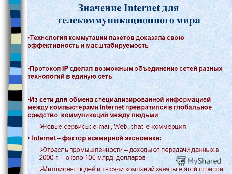 Значение Internet для телекоммуникационного мира Технология коммутации пакетов доказала свою эффективность и масштабируемость Протокол IP сделал возможным объединение сетей разных технологий в единую сеть Из сети для обмена специализированной информа