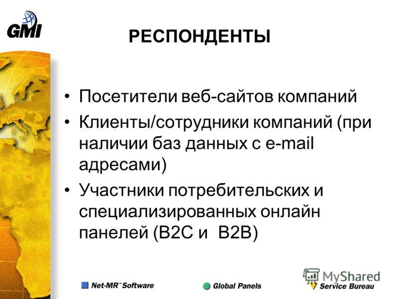 РЕСПОНДЕНТЫ Посетители веб-сайтов компаний Клиенты/сотрудники компаний (при наличии баз данных с e-mail адресами) Участники потребительских и специализированных онлайн панелей (B2C и B2B)
