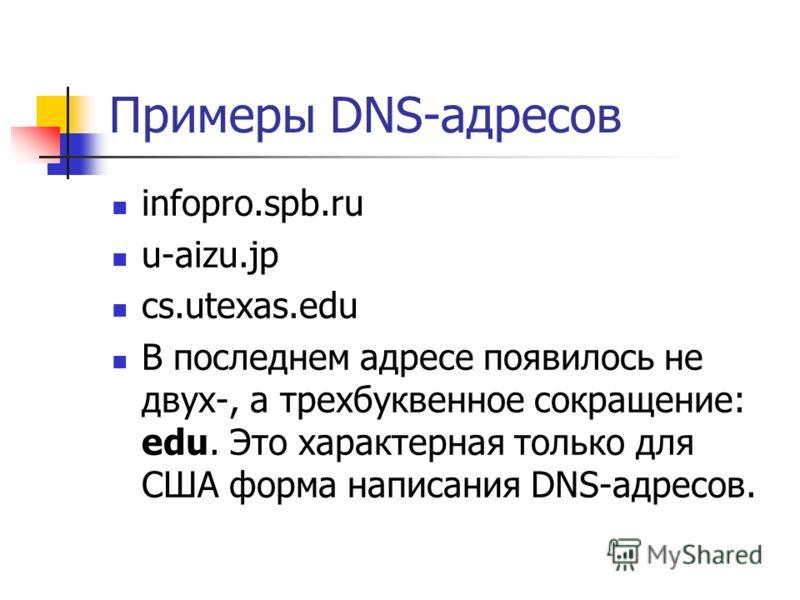 Примеры DNS-адресов infopro.spb.ru u-aizu.jp cs.utexas.edu В последнем адресе появилось не двух-, а трехбуквенное сокращение: edu. Это характерная только для США форма написания DNS-адресов.