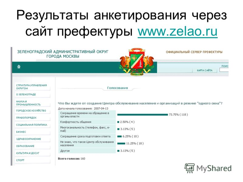 Результаты анкетирования через сайт префектуры www.zelao.ruwww.zelao.ru