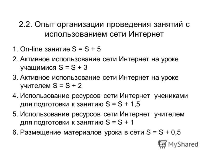 2.2. Опыт организации проведения занятий с использованием сети Интернет 1. On-line занятие S = S + 5 2. Активное использование сети Интернет на уроке учащимися S = S + 3 3. Активное использование сети Интернет на уроке учителем S = S + 2 4. Использов