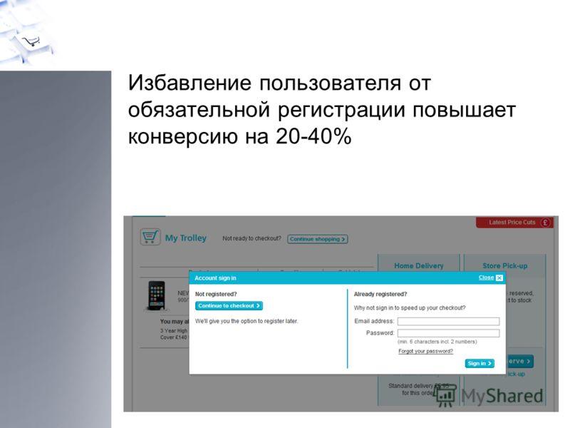 Избавление пользователя от обязательной регистрации повышает конверсию на 20-40%