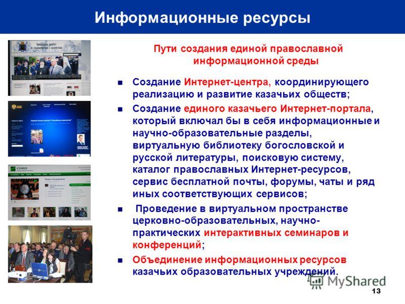 Пути создания единой православной информационной среды Создание Интернет-центра, координирующего реализацию и развитие казачьих обществ; Создание единого казачьего Интернет-портала, который включал бы в себя информационные и научно-образовательные ра