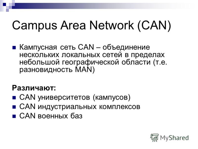 Campus Area Network (CAN) Кампусная сеть CAN – объединение нескольких локальных сетей в пределах небольшой географической области (т.е. разновидность MAN) Различают: CAN университетов (кампусов) CAN индустриальных комплексов CAN военных баз