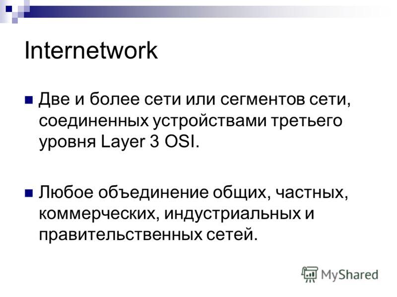 Internetwork Две и более сети или сегментов сети, соединенных устройствами третьего уровня Layer 3 OSI. Любое объединение общих, частных, коммерческих, индустриальных и правительственных сетей.