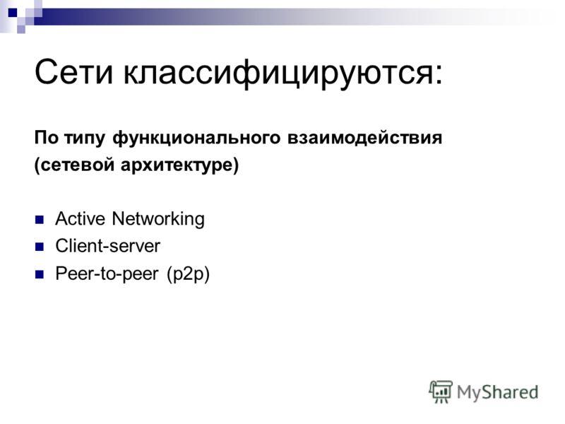 Сети классифицируются: По типу функционального взаимодействия (сетевой архитектуре) Active Networking Client-server Peer-to-peer (p2p)
