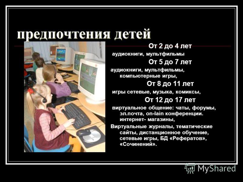 предпочтения детей От 2 до 4 лет аудиокниги, мультфильмы От 5 до 7 лет аудиокниги, мультфильмы, компьютерные игры, От 8 до 11 лет игры сетевые, музыка, комиксы, От 12 до 17 лет виртуальное общение: чаты, форумы, эл.почта, on-lain конференции. интерне