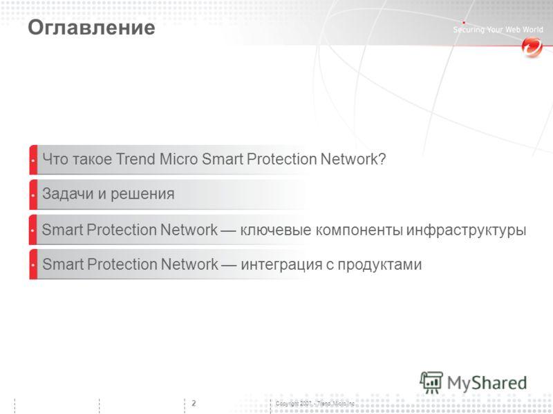 Copyright 2007 - Trend Micro Inc. 2 Оглавление Smart Protection Network интеграция с продуктами Что такое Trend Micro Smart Protection Network? Smart Protection Network ключевые компоненты инфраструктуры Задачи и решения