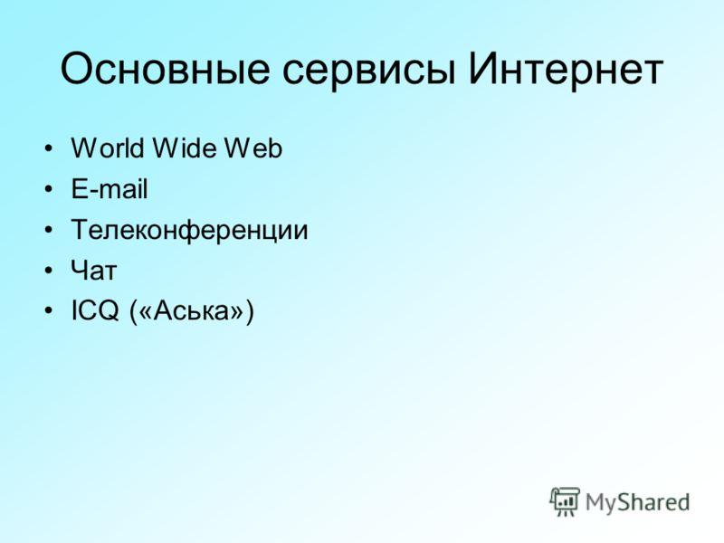Основные сервисы Интернет World Wide Web E-mail Телеконференции Чат ICQ («Аська»)