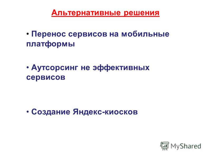 Альтернативные решения Перенос сервисов на мобильные платформы Аутсорсинг не эффективных сервисов Создание Яндекс-киосков