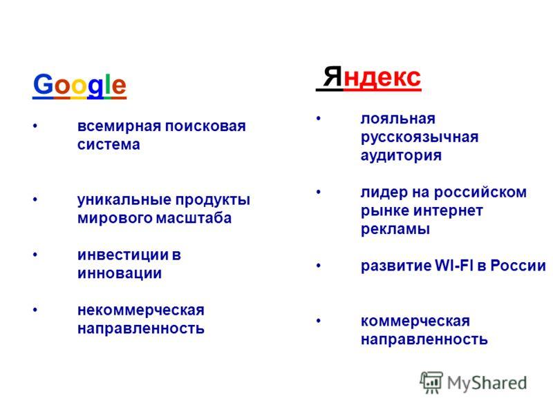 Google всемирная поисковая система уникальные продукты мирового масштаба инвестиции в инновации некоммерческая направленность Яндекс лояльная русскоязычная аудитория лидер на российском рынке интернет рекламы развитие WI-FI в России коммерческая напр