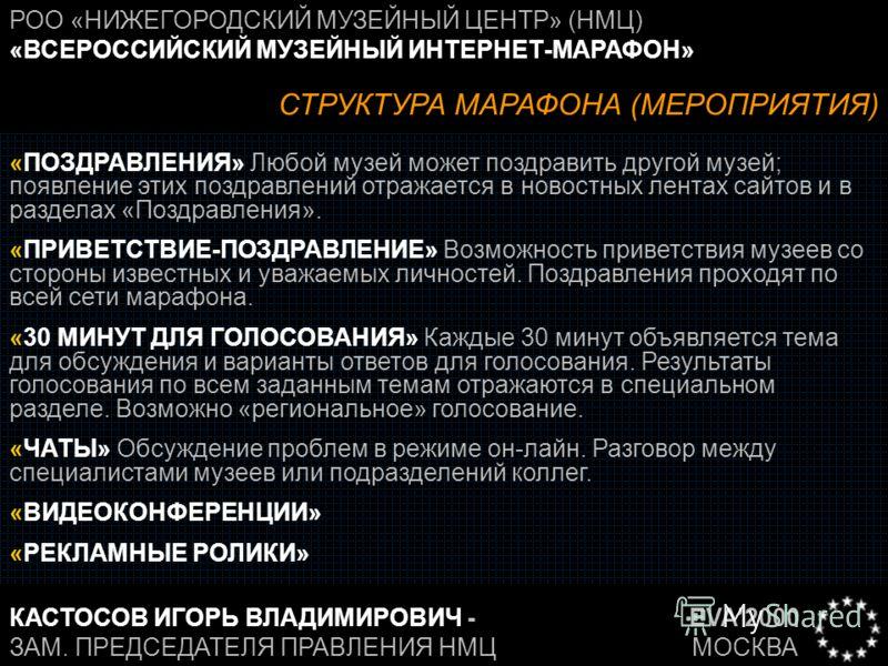 EVA2000 МОСКВА РОО «НИЖЕГОРОДСКИЙ МУЗЕЙНЫЙ ЦЕНТР» (НМЦ) «ВСЕРОССИЙСКИЙ МУЗЕЙНЫЙ ИНТЕРНЕТ-МАРАФОН» КАСТОСОВ ИГОРЬ ВЛАДИМИРОВИЧ - ЗАМ. ПРЕДСЕДАТЕЛЯ ПРАВЛЕНИЯ НМЦ СТРУКТУРА МАРАФОНА (МЕРОПРИЯТИЯ) «ПОЗДРАВЛЕНИЯ» Любой музей может поздравить другой музей;