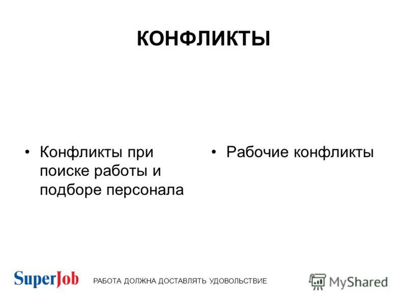 КОНФЛИКТЫ Конфликты при поиске работы и подборе персонала Рабочие конфликты РАБОТА ДОЛЖНА ДОСТАВЛЯТЬ УДОВОЛЬСТВИЕ