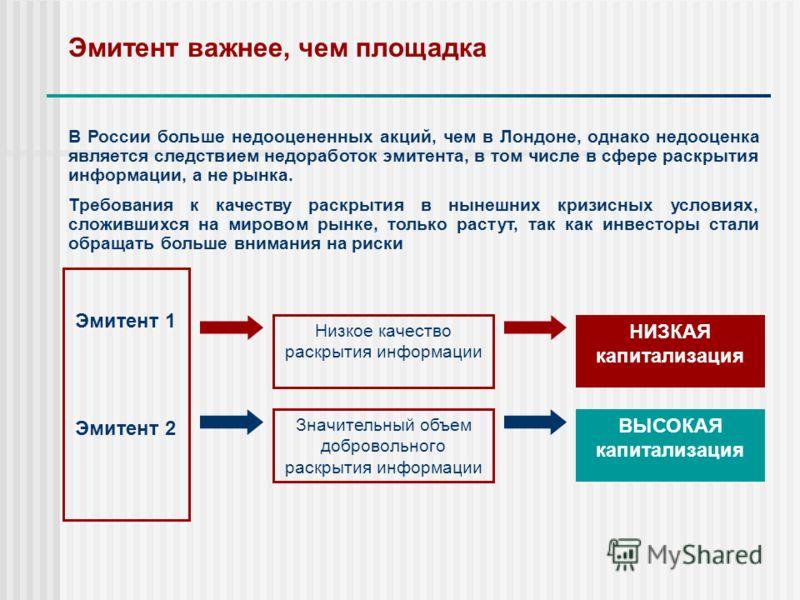 Эмитент важнее, чем площадка В России больше недооцененных акций, чем в Лондоне, однако недооценка является следствием недоработок эмитента, в том числе в сфере раскрытия информации, а не рынка. Требования к качеству раскрытия в нынешних кризисных ус