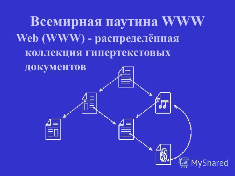Всемирная паутина WWW Web (WWW) - распределённая коллекция гипертекстовых документов