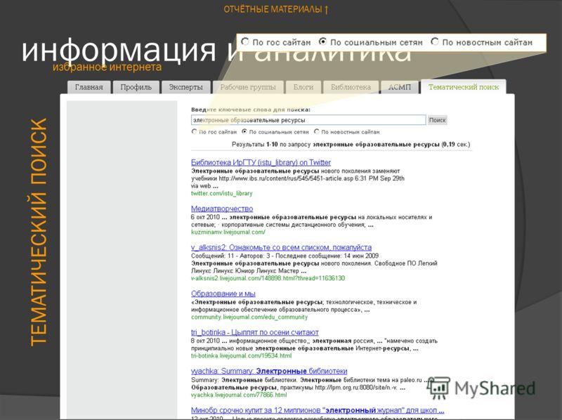 информация и аналитика избранное интернета ТЕМАТИЧЕСКИЙ ПОИСК ОТЧЁТНЫЕ МАТЕРИАЛЫ
