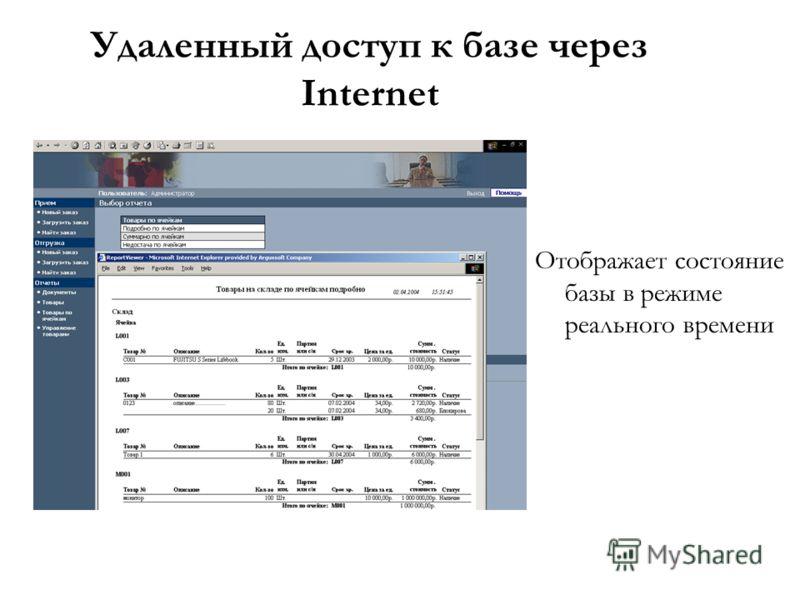 Удаленный доступ к базе через Internet Отображает состояние базы в режиме реального времени