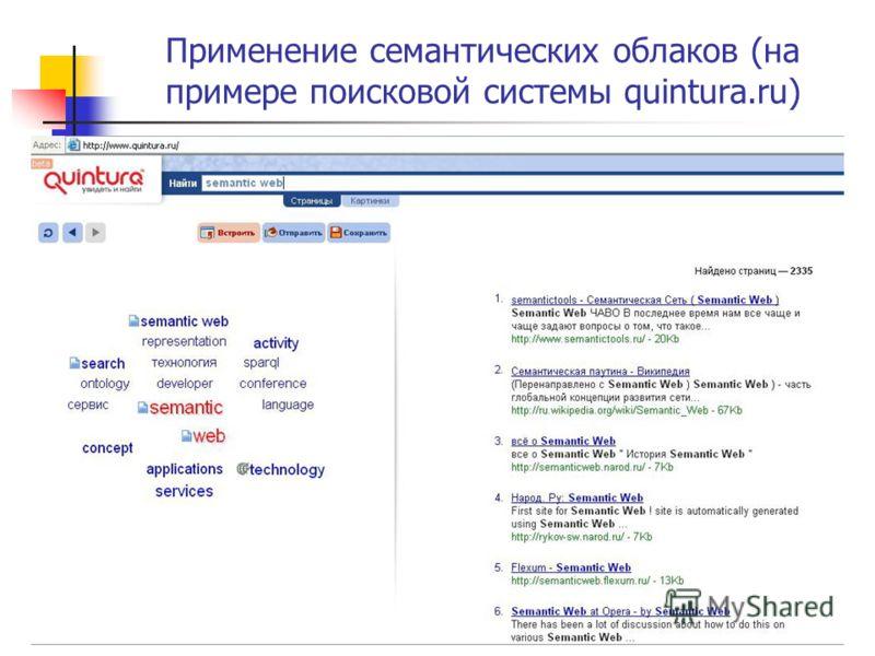 Применение семантических облаков (на примере поисковой системы quintura.ru)