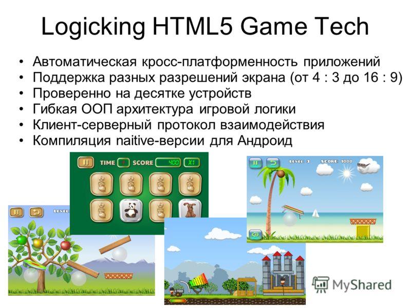 Logicking HTML5 Game Tech Автоматическая кросс-платформенность приложений Поддержка разных разрешений экрана (от 4 : 3 до 16 : 9) Проверенно на десятке устройств Гибкая ООП архитектура игровой логики Клиент-серверный протокол взаимодействия Компиляци