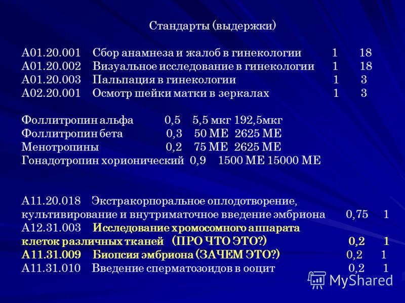 Стандарты (выдержки) A01.20.001 Сбор анамнеза и жалоб в гинекологии 1 18 A01.20.002 Визуальное исследование в гинекологии 1 18 A01.20.003 Пальпация в гинекологии 1 3 A02.20.001 Осмотр шейки матки в зеркалах 1 3 Фоллитропин альфа 0,5 5,5 мкг 192,5мкг