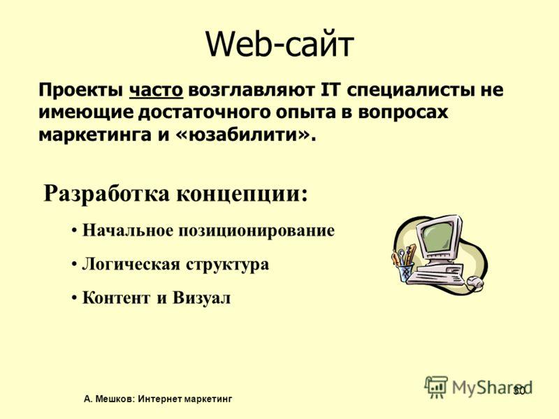 А. Мешков: Интернет маркетинг 30 Web-сайт Проекты часто возглавляют IT специалисты не имеющие достаточного опыта в вопросах маркетинга и «юзабилити». Разработка концепции: Начальное позиционирование Логическая структура Контент и Визуал