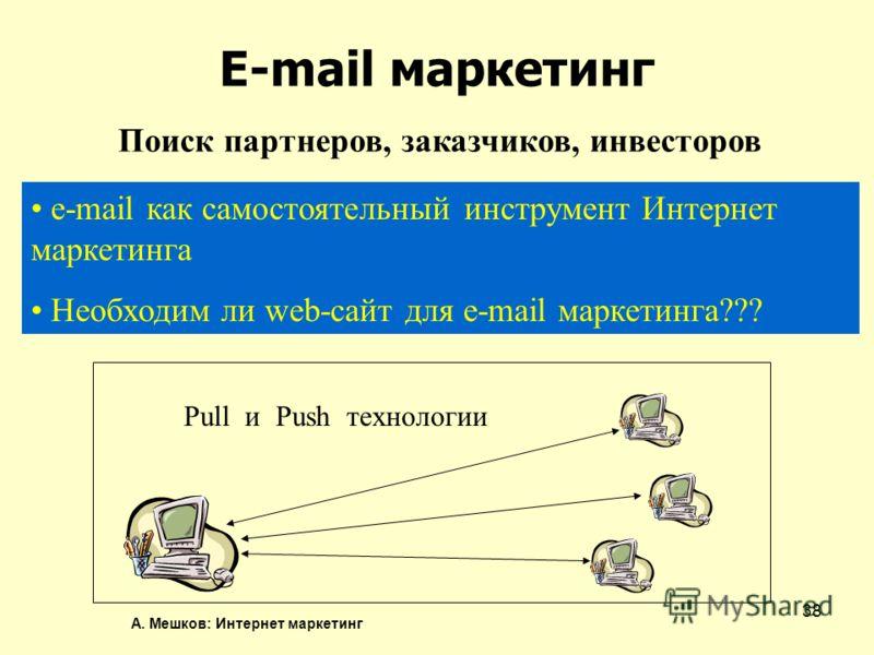 А. Мешков: Интернет маркетинг 38 E-mail маркетинг Поиск партнеров, заказчиков, инвесторов e-mail как самостоятельный инструмент Интернет маркетинга Необходим ли web-сайт для e-mail маркетинга??? Pull и Push технологии