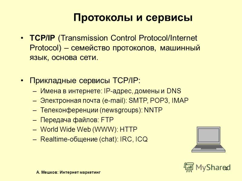 А. Мешков: Интернет маркетинг 4 Протоколы и сервисы TCP/IP (Transmission Control Protocol/Internet Protocol) – семейство протоколов, машинный язык, основа сети. Прикладные сервисы TCP/IP: –Имена в интернете: IP-адрес, домены и DNS –Электронная почта
