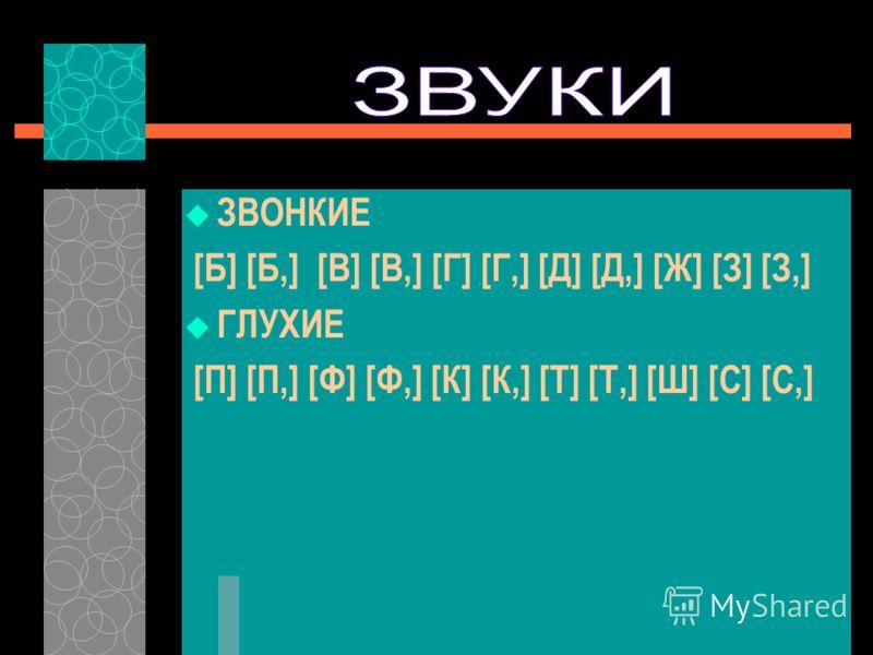 ЗВОНКИЕ [Б] [Б,] [В] [В,] [Г] [Г,] [Д] [Д,] [Ж] [З] [З,] ГЛУХИЕ [П] [П,] [Ф] [Ф,] [К] [К,] [Т] [Т,] [Ш] [С] [С,]