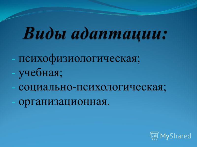 - психофизиологическая; - учебная; - социально-психологическая; - организационная.