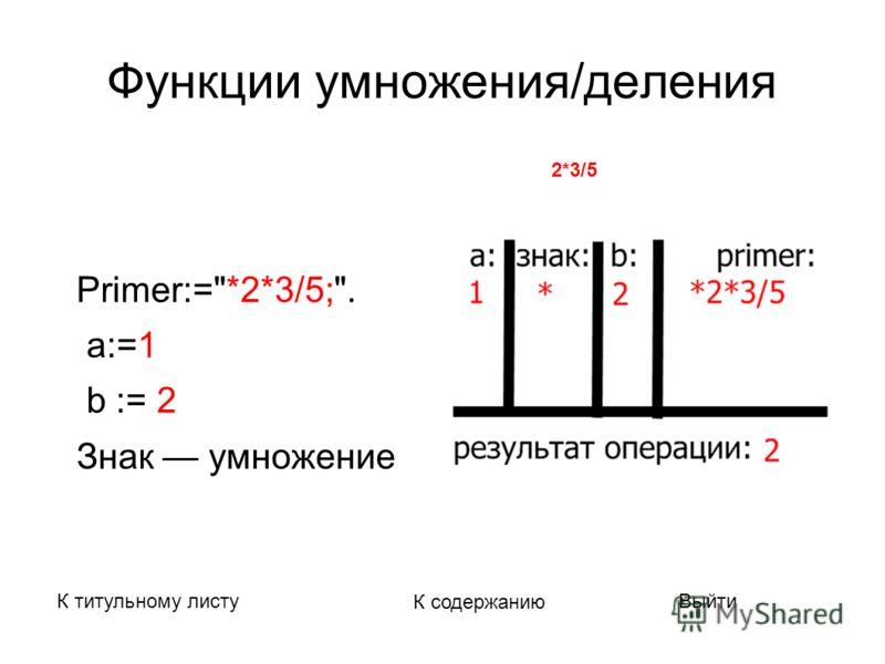 Функции умножения/деления Primer:=*2*3/5;. а:=1 b := 2 Знак умножение К титульному листу К содержанию Выйти Вычисляемое выражение : 2*3/5