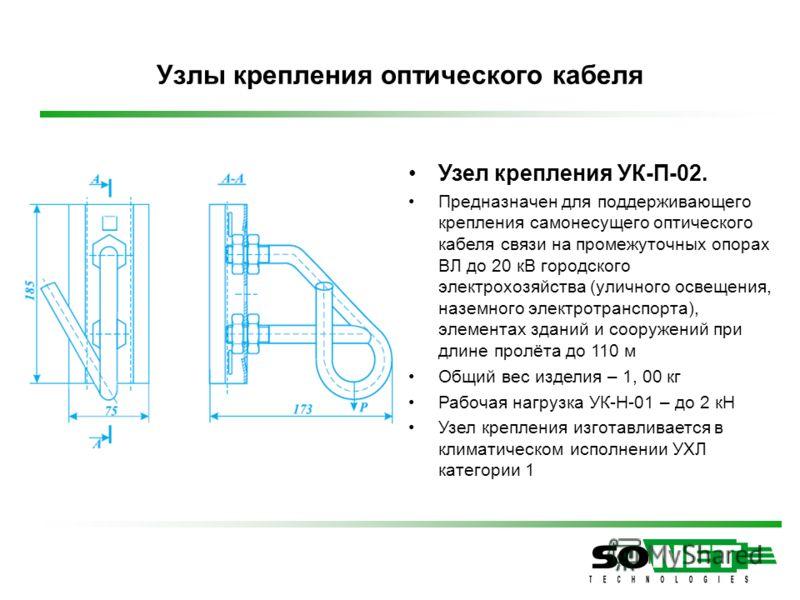 Узел крепления УК-П-02. Предназначен для поддерживающего крепления самонесущего оптического кабеля связи на промежуточных опорах ВЛ до 20 кВ городского электрохозяйства (уличного освещения, наземного электротранспорта), элементах зданий и сооружений
