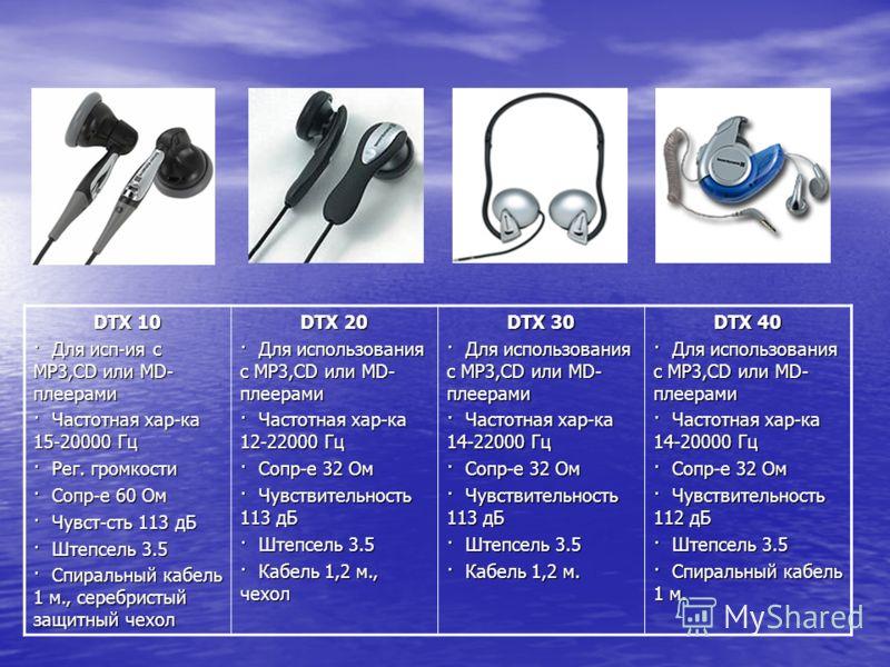 DTX 10 · Для исп-ия с MP3,CD или MD- плеерами · Частотная хар-ка 15-20000 Гц · Рег. громкости · Сопр-е 60 Ом · Чувст-сть 113 дБ · Штепсель 3.5 · Спиральный кабель 1 м., серебристый защитный чехол DTX 20 · Для использования с MP3,CD или MD- плеерами ·