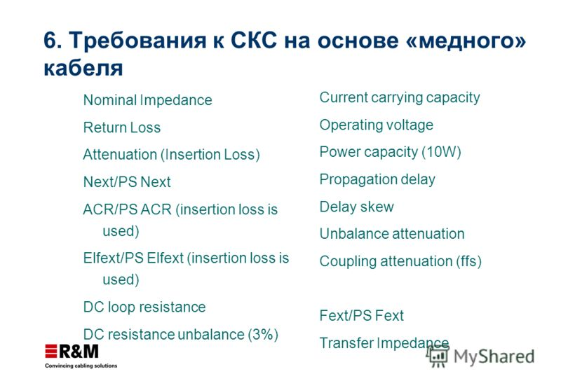 Nominal Impedance Return Loss Attenuation (Insertion Loss) Next/PS Next ACR/PS ACR (insertion loss is used) Elfext/PS Elfext (insertion loss is used) DC loop resistance DC resistance unbalance (3%) Current carrying capacity Operating voltage Power ca
