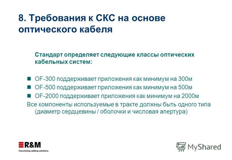 Стандарт определяет следующие классы оптических кабельных систем: OF-300 поддерживает приложения как минимум на 300м OF-500 поддерживает приложения как минимум на 500м OF-2000 поддерживает приложения как минимум на 2000м Все компоненты используемые в