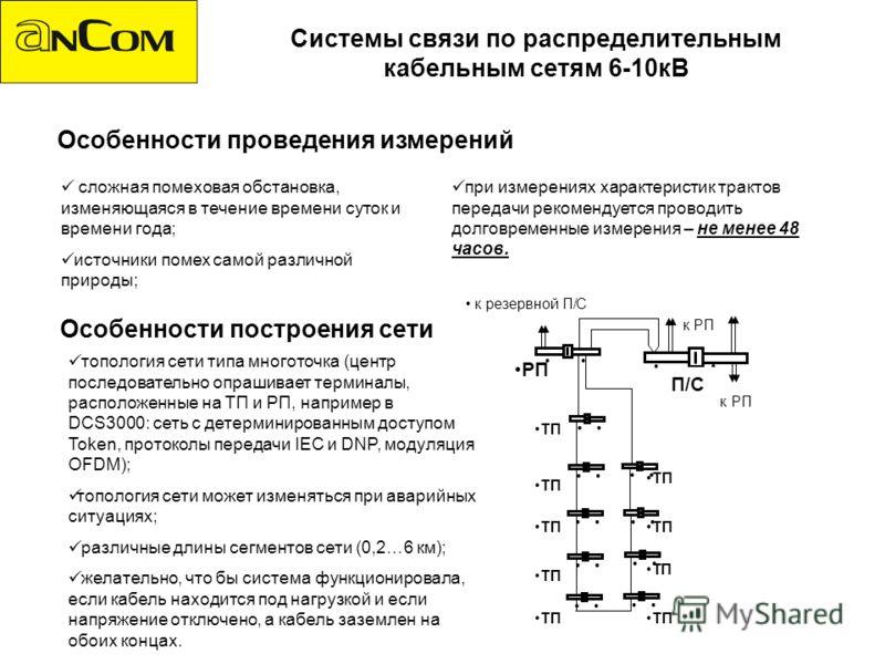 Системы связи по распределительным кабельным сетям 6-10кВ Особенности построения сети топология сети типа многоточка (центр последовательно опрашивает терминалы, расположенные на ТП и РП, например в DCS3000: сеть с детерминированным доступом Token, п
