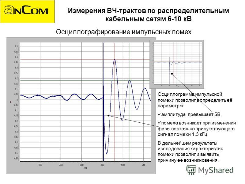 Измерения ВЧ-трактов по распределительным кабельным сетям 6-10 кВ Осциллографирование импульсных помех Осциллограмма импульсной помехи позволила определить её параметры: амплитуда превышает 5В, помеха возникает при изменении фазы постоянно присутству