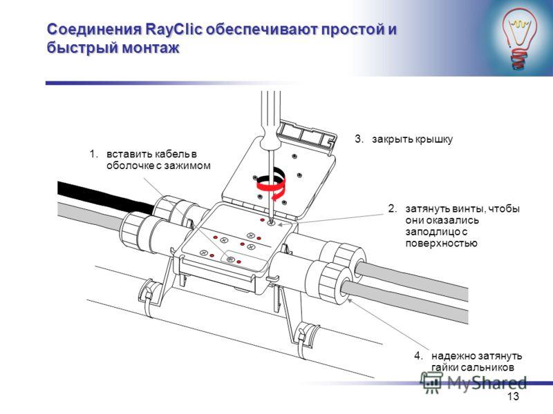 13 Соединения RayClic обеспечивают простой и быстрый монтаж 2.затянуть винты, чтобы они оказались заподлицо с поверхностью 3.закрыть крышку 4.надежно затянуть гайки сальников 1.вставить кабель в оболочке с зажимом