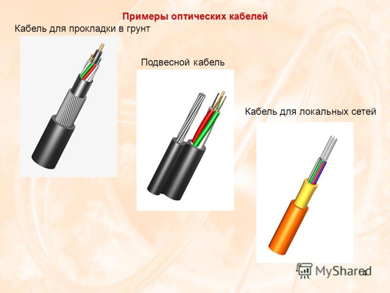 4 Примеры оптических кабелей Кабель для прокладки в грунт Подвесной кабель Кабель для локальных сетей
