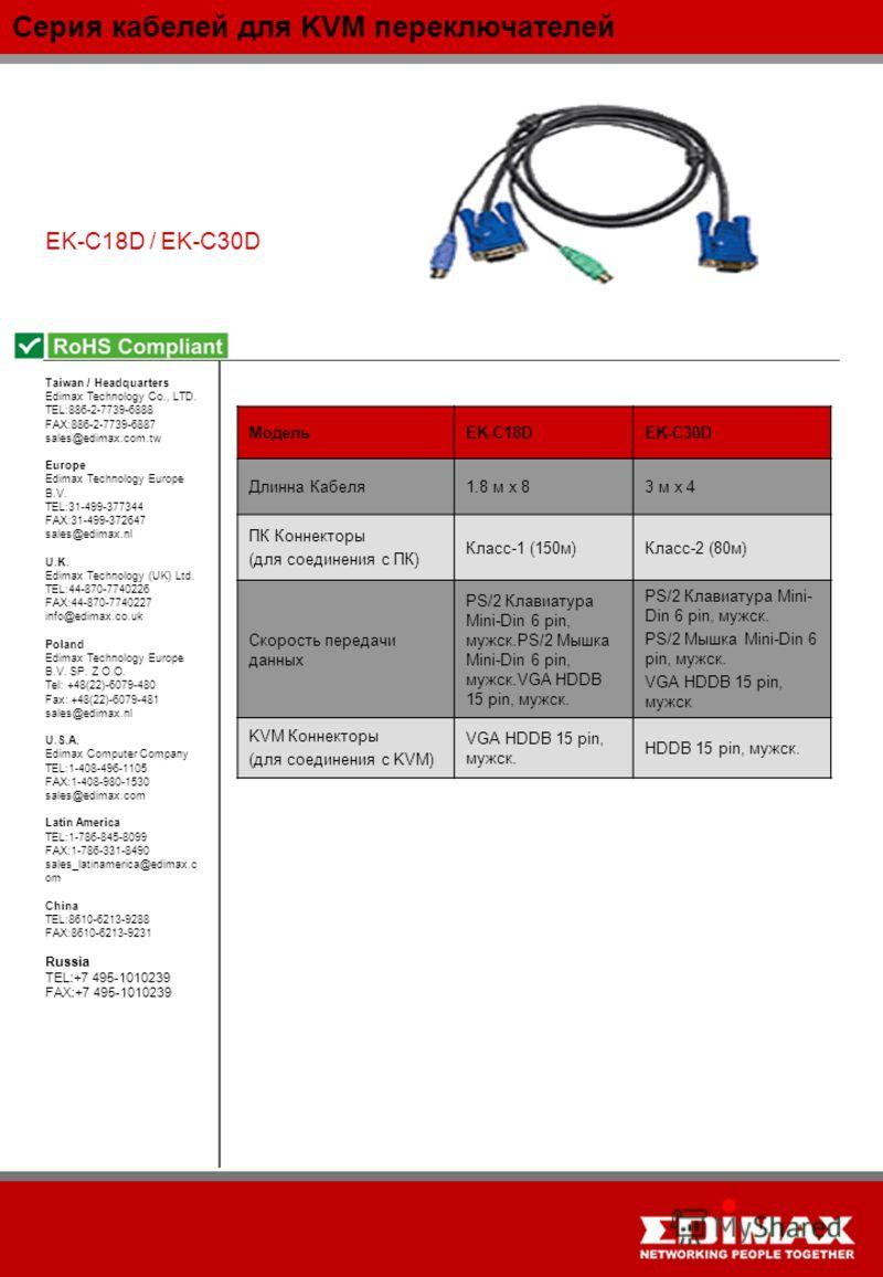 Серия кабелей для KVM переключателей EK-C18D / EK-C30D МодельEK-C18DEK-C30D Длинна Кабеля1.8 м x 83 м x 4 ПК Коннекторы (для соединения с ПК) Класс-1 (150м)Класс-2 (80м) Скорость передачи данных PS/2 Клавиатура Mini-Din 6 pin, мужск.PS/2 Мышка Mini-D