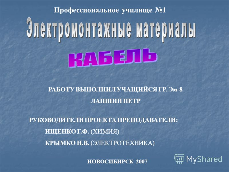 РУКОВОДИТЕЛИ ПРОЕКТА ПРЕПОДАВАТЕЛИ: ИЩЕНКО Г.Ф. (ХИМИЯ) КРЫМКО Н.В. (ЭЛЕКТРОТЕХНИКА) НОВОСИБИРСК 2007 Профессиональное училище 1 РАБОТУ ВЫПОЛНИЛ УЧАЩИЙСЯ ГР. Эм-8 ЛАПШИН ПЕТР