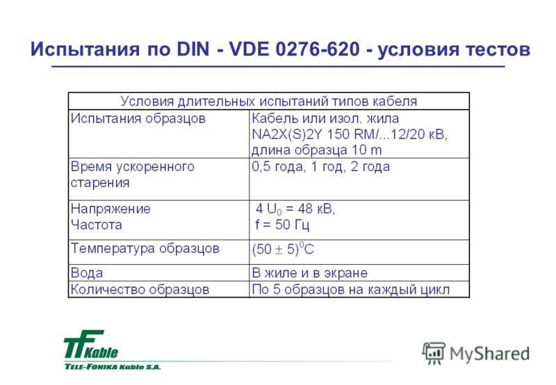 Испытания по DIN - VDE 0276-620 - условия тестов